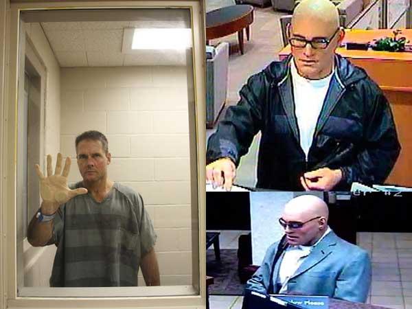 """米兰姆本人和他戴""""人皮面具""""抢劫银行的监控视频截图"""