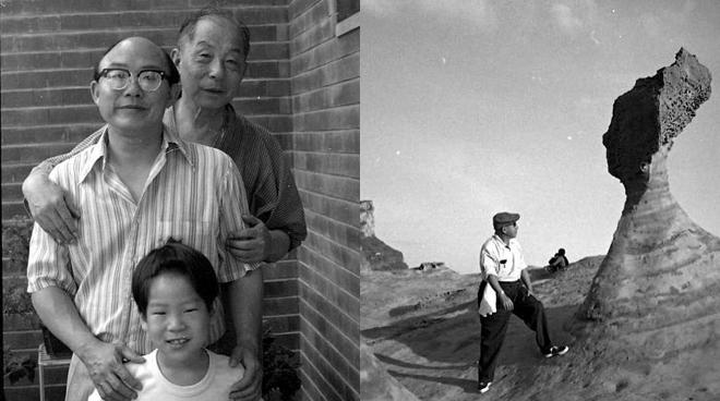 左:1975年,张学良与儿子张闾琳、孙子张居仰合影;右:1970年冬,张学良游览野柳地质公园。