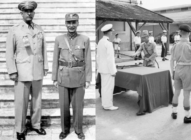 左:1945年9月28日,卢汉与美军将领在河内合影。右:1945年9月13日,日本海军军官在西贡向英军投降。