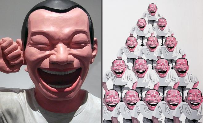 同样是岳敏君作品,雕塑和油画的价格相差数百倍。