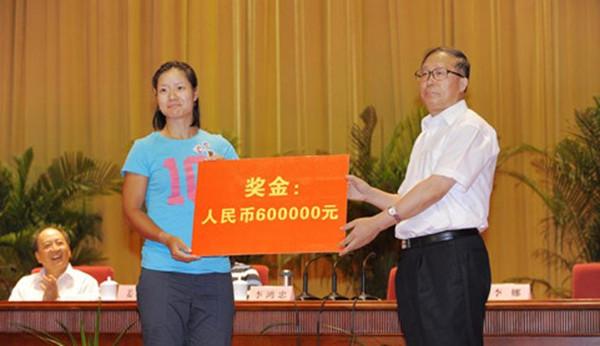 李娜11年法网夺冠后,湖北省政府奖励60万