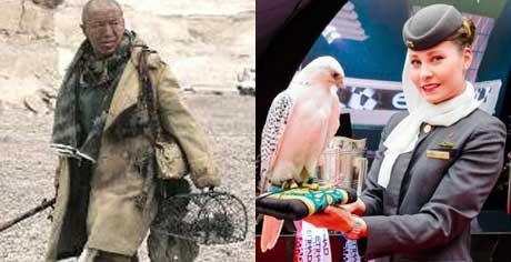 左:《无人区》里黄渤的角色提着捕猎隼等用的笼子 右:阿联酋的空姐与猎隼合影