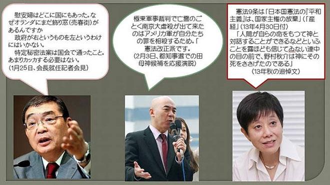 日本人总结的NHK右翼化三干将,自左至右分别为�u井胜人、百田尚树、长谷川三千子