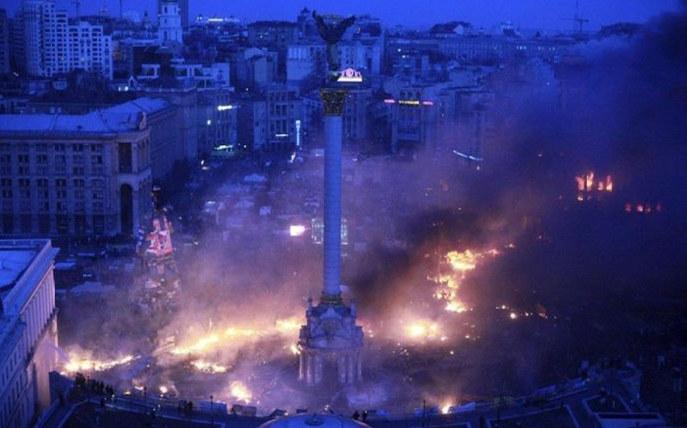 骚乱后的广场成火海一片