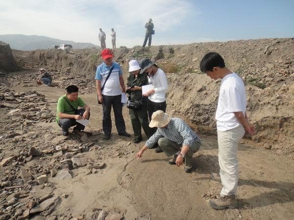 地震局的工作人员在野外勘测