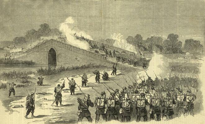 洋枪队与太平军战斗情形。1850年代外媒绘制