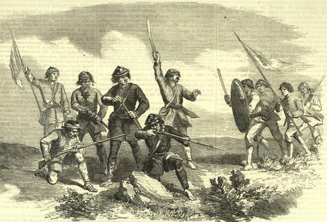 太平天国士兵战斗情形。1850年代外媒绘制