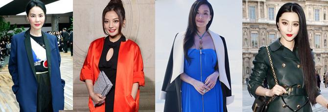 作为品牌直接邀请的女星,王菲、赵薇、舒淇、范冰冰在本届巴黎时装周上都只看了一场秀。