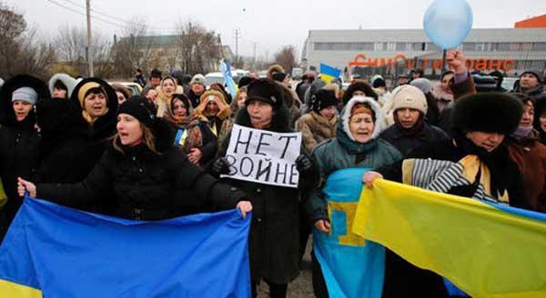反对克里米亚从乌克兰分离的鞑靼人
