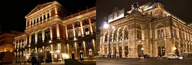 当地人通常认为,维也纳国家歌剧院(右)的地位和权威性要略高于金色大厅(左)