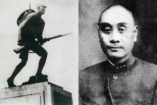 左:川军出川抗战纪念铜像;右:四川军阀刘湘