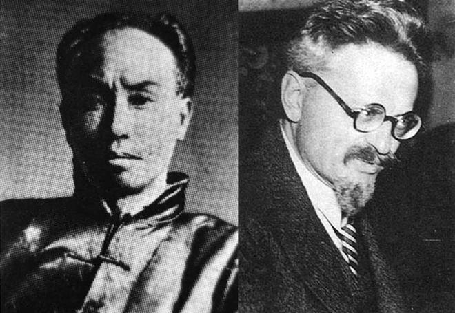 左:被推举为中国托派领袖、但对托派抗日主张批评甚多的陈独秀;右:世界托派领袖托洛茨基