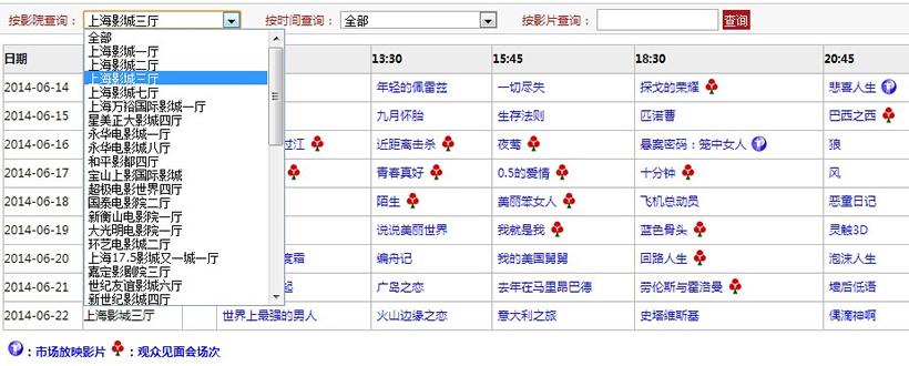 上海电影节本届排片表