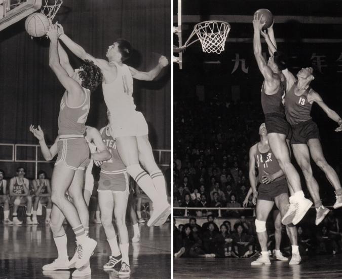 张指导在与加拿大队比赛中盖帽(左)张指导在全运会中抢篮板(右)