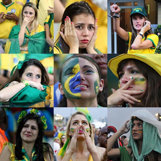 巴西队输球后,落泪的巴西女球迷