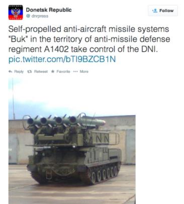 顿涅茨克反政府军称拿到了Buk导弹