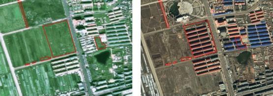 卫星遥感等技术手段可将同一地域前后两个不同时间的卫片进行叠加对比,从而反映出该地域土地利用的变化情况。