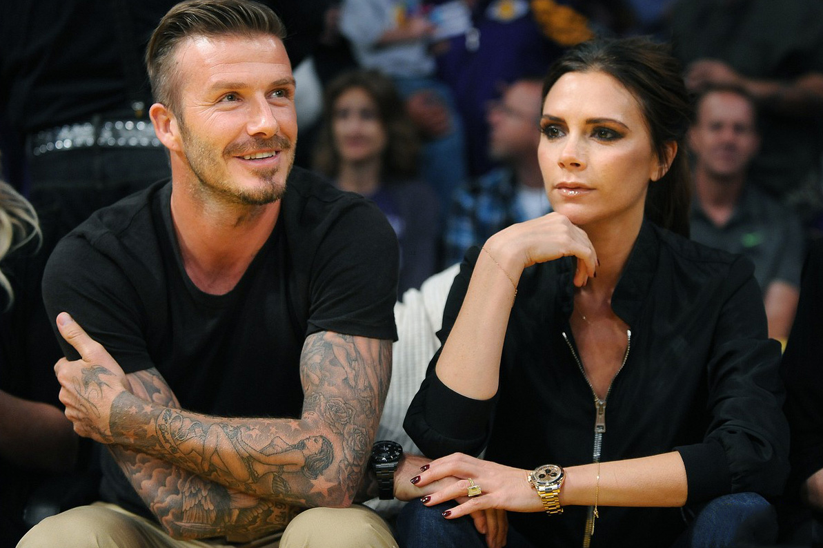 David and Victoria Beckham both wore Rolex Deepsea and Rolex Daytona, sitting in the first row of the Staples Stadium to watch the Los Angeles Lakers game.
