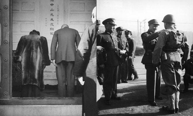 1945年10月,蒋介石夫妇飞抵北平,前往碧云寺祭拜孙中山衣冠冢(左),并检阅驻平国军士兵(右)