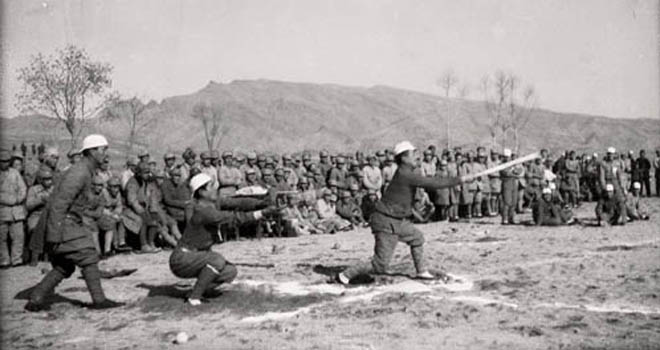 1940年元旦,在华日人反战同盟(成员以日俘为主)晋察冀支部表演棒球竞赛