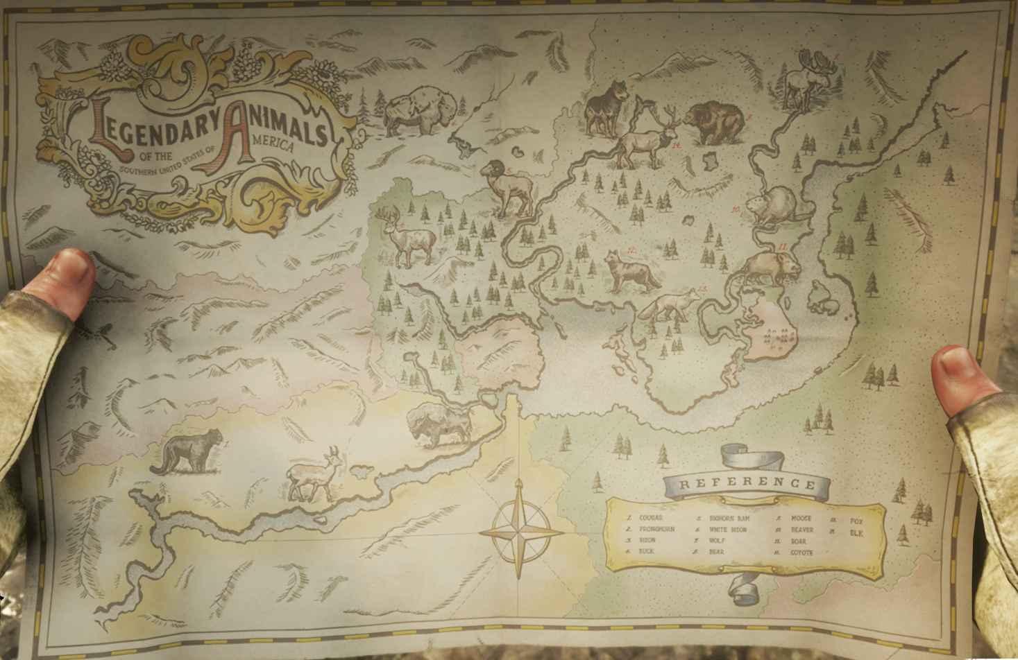 《荒野大镖客2》全传说动物狩猎位置一览
