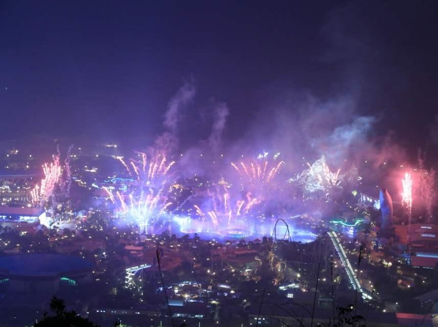 横琴风车山上看长隆烟花汇演,看珠澳夜景