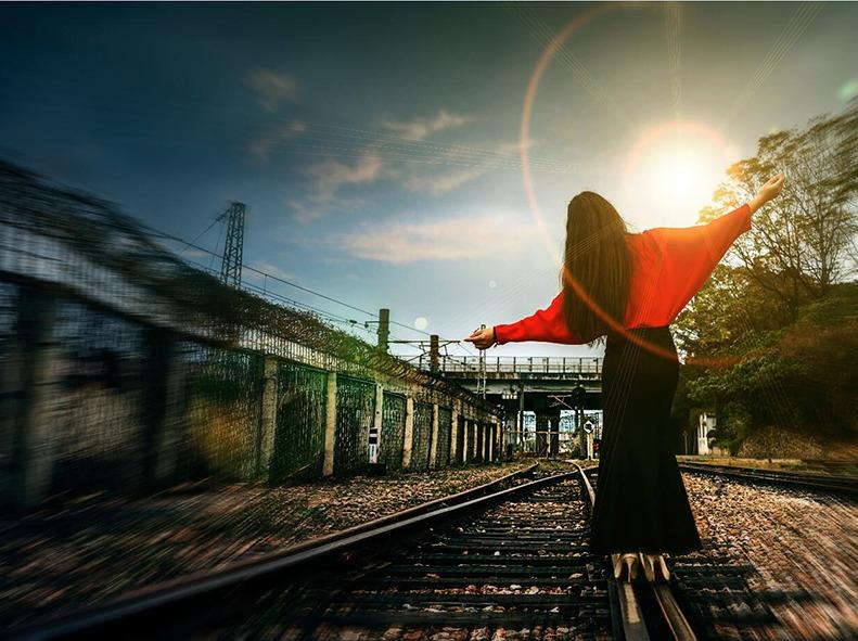 铁路人像主题,深圳草埔铁路拍摄