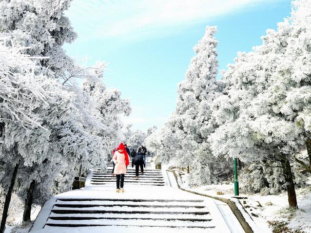 元旦、湖南南岳衡山、祝融峰、赏雾淞雪景